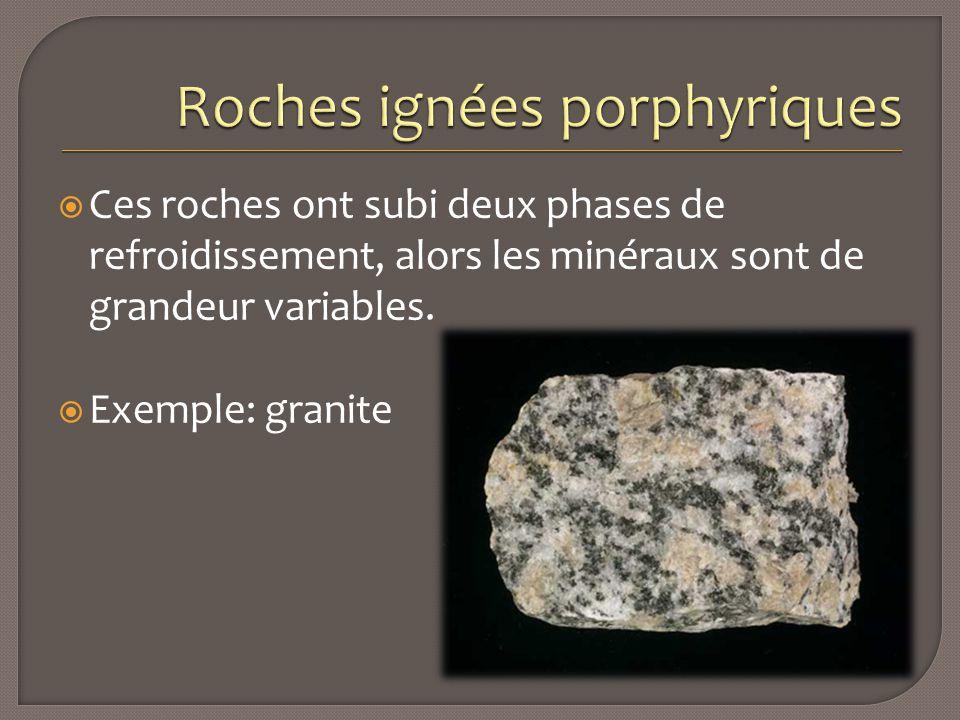  Ces roches ont subi deux phases de refroidissement, alors les minéraux sont de grandeur variables.  Exemple: granite