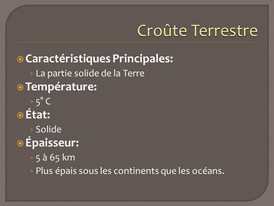  Caractéristiques Principales: La partie solide de la Terre  Température: 5° C  État: Solide  Épaisseur: 5 à 65 km Plus épais sous les continents