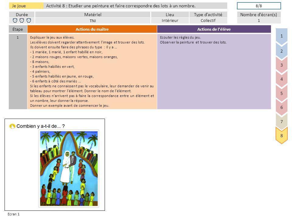 DuréeLieuType d'activitéMatérielNombre d'écran(s) Je joue Activité 8 : Etudier une peinture et faire correspondre des lots à un nombre.