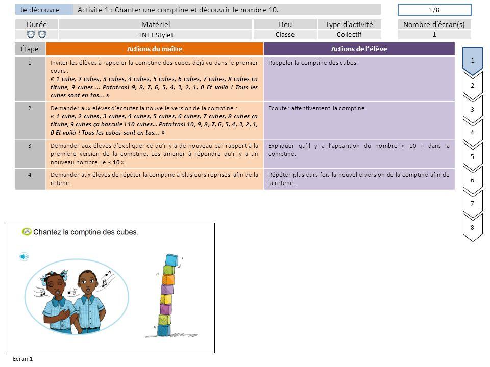 DuréeLieuType d'activitéMatérielNombre d'écran(s) Je découvre Activité 1 : Chanter une comptine et découvrir le nombre 10.