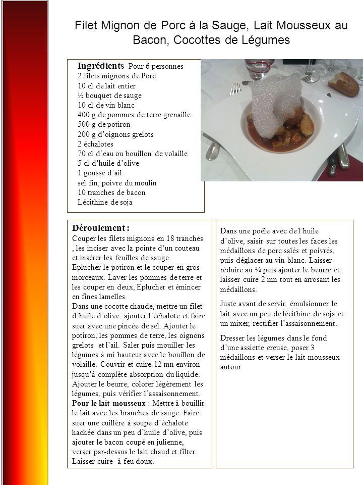 Filet Mignon de Porc à la Sauge, Lait Mousseux au Bacon, Cocottes de Légumes Ingrédients Pour 6 personnes 2 filets mignons de Porc 10 cl de lait entier ½ bouquet de sauge 10 cl de vin blanc 400 g de pommes de terre grenaille 500 g de potiron 200 g d'oignons grelots 2 échalotes 70 cl d'eau ou bouillon de volaille 5 cl d'huile d'olive 1 gousse d'ail sel fin, poivre du moulin 10 tranches de bacon Lécithine de soja Déroulement : Couper les filets mignons en 18 tranches, les inciser avec la pointe d'un couteau et insérer les feuilles de sauge.