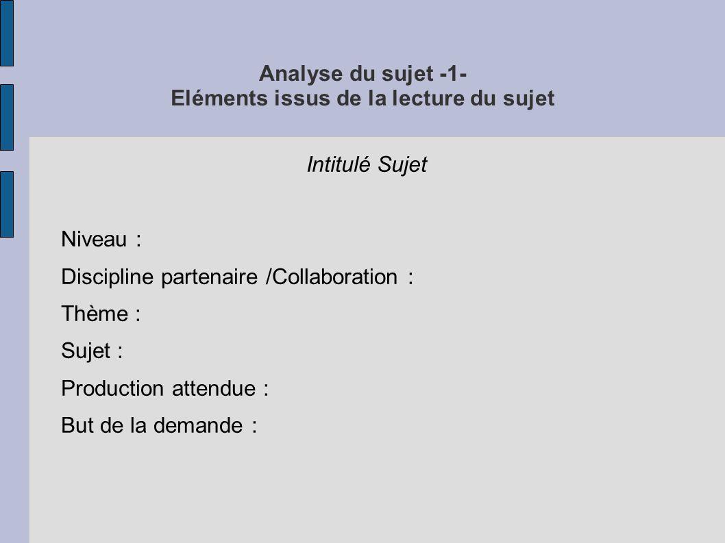 Analyse du sujet -1- Eléments issus de la lecture du sujet Intitulé Sujet Niveau : Discipline partenaire /Collaboration : Thème : Sujet : Production attendue : But de la demande :