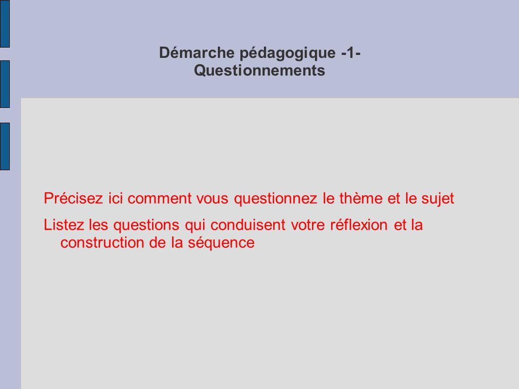 Démarche pédagogique -1- Questionnements Précisez ici comment vous questionnez le thème et le sujet Listez les questions qui conduisent votre réflexion et la construction de la séquence