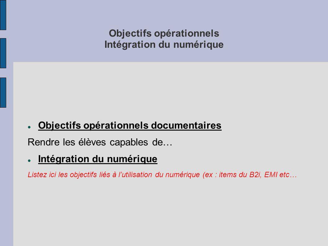 Objectifs opérationnels Intégration du numérique Objectifs opérationnels documentaires Rendre les élèves capables de… Intégration du numérique Listez ici les objectifs liés à l'utilisation du numérique (ex : items du B2i, EMI etc…