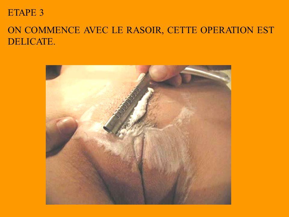 ETAPE 3 ON COMMENCE AVEC LE RASOIR, CETTE OPERATION EST DELICATE.