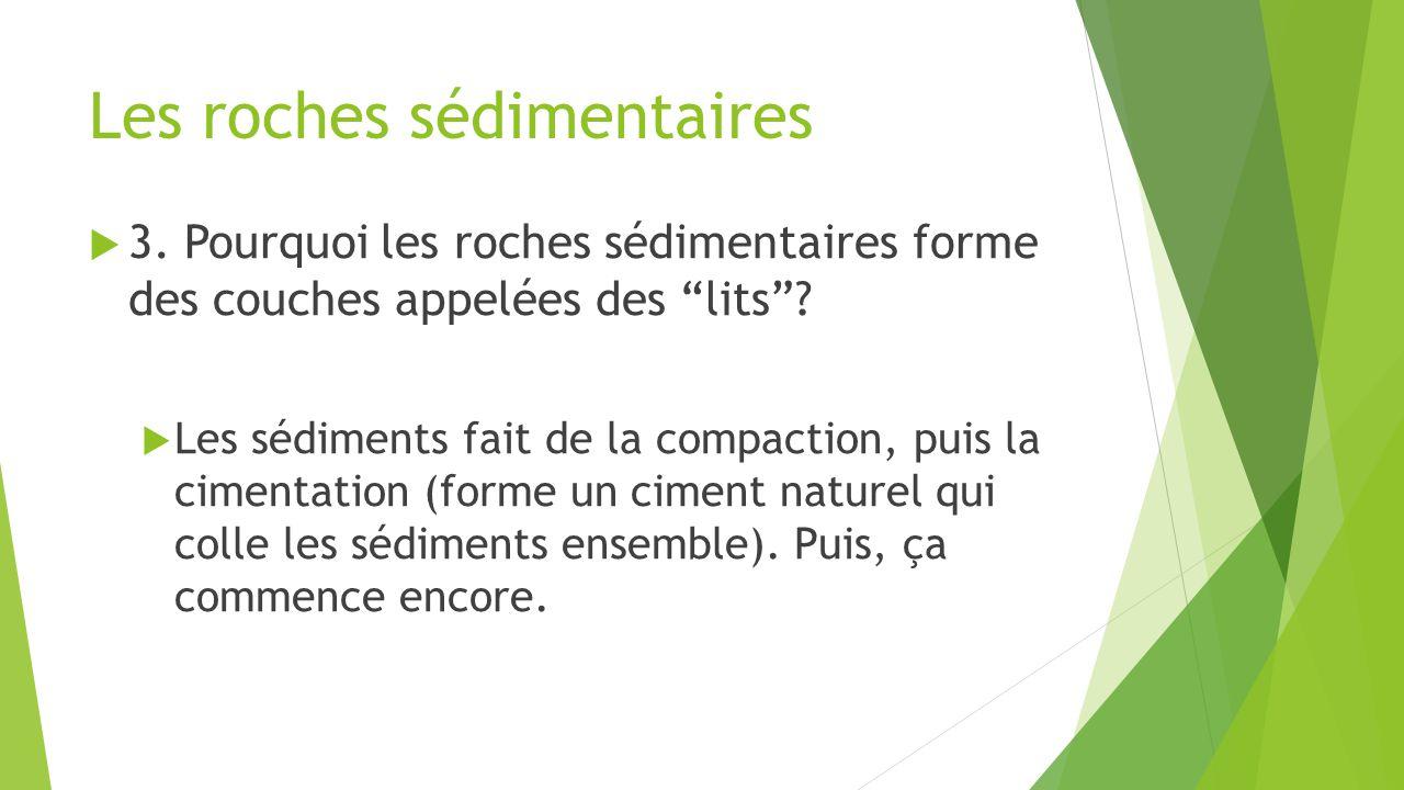 """Les roches sédimentaires  3. Pourquoi les roches sédimentaires forme des couches appelées des """"lits""""?  Les sédiments fait de la compaction, puis la"""