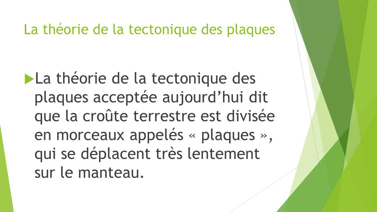 La théorie de la tectonique des plaques  La théorie de la tectonique des plaques acceptée aujourd'hui dit que la croûte terrestre est divisée en morc
