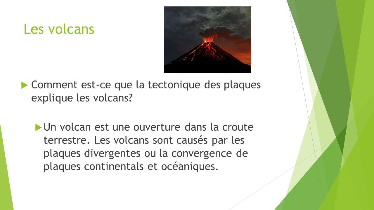 Les volcans  Comment est-ce que la tectonique des plaques explique les volcans?  Un volcan est une ouverture dans la croute terrestre. Les volcans s