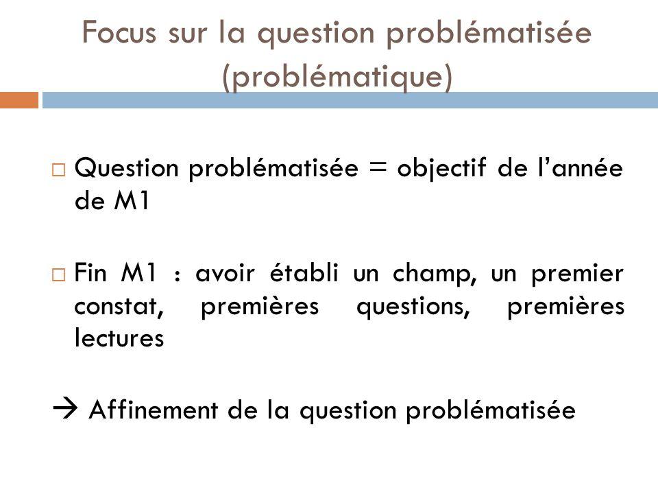 Focus sur la question problématisée (problématique)  Question problématisée = objectif de l'année de M1  Fin M1 : avoir établi un champ, un premier constat, premières questions, premières lectures  Affinement de la question problématisée
