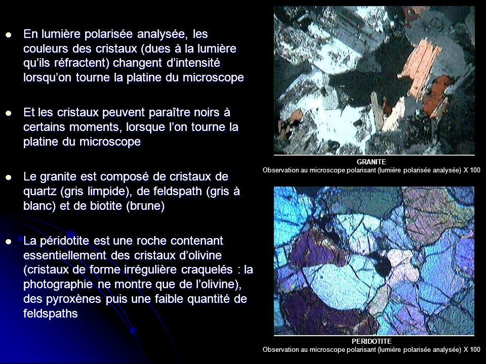 En lumière polarisée analysée, les couleurs des cristaux (dues à la lumière qu'ils réfractent) changent d'intensité lorsqu'on tourne la platine du microscope En lumière polarisée analysée, les couleurs des cristaux (dues à la lumière qu'ils réfractent) changent d'intensité lorsqu'on tourne la platine du microscope Et les cristaux peuvent paraître noirs à certains moments, lorsque l'on tourne la platine du microscope Et les cristaux peuvent paraître noirs à certains moments, lorsque l'on tourne la platine du microscope Le granite est composé de cristaux de quartz (gris limpide), de feldspath (gris à blanc) et de biotite (brune) Le granite est composé de cristaux de quartz (gris limpide), de feldspath (gris à blanc) et de biotite (brune) La péridotite est une roche contenant essentiellement des cristaux d'olivine (cristaux de forme irrégulière craquelés : la photographie ne montre que de l'olivine), des pyroxènes puis une faible quantité de feldspaths La péridotite est une roche contenant essentiellement des cristaux d'olivine (cristaux de forme irrégulière craquelés : la photographie ne montre que de l'olivine), des pyroxènes puis une faible quantité de feldspaths GRANITE Observation au microscope polarisant (lumière polarisée analysée) X 100 PERIDOTITE Observation au microscope polarisant (lumière polarisée analysée) X 100