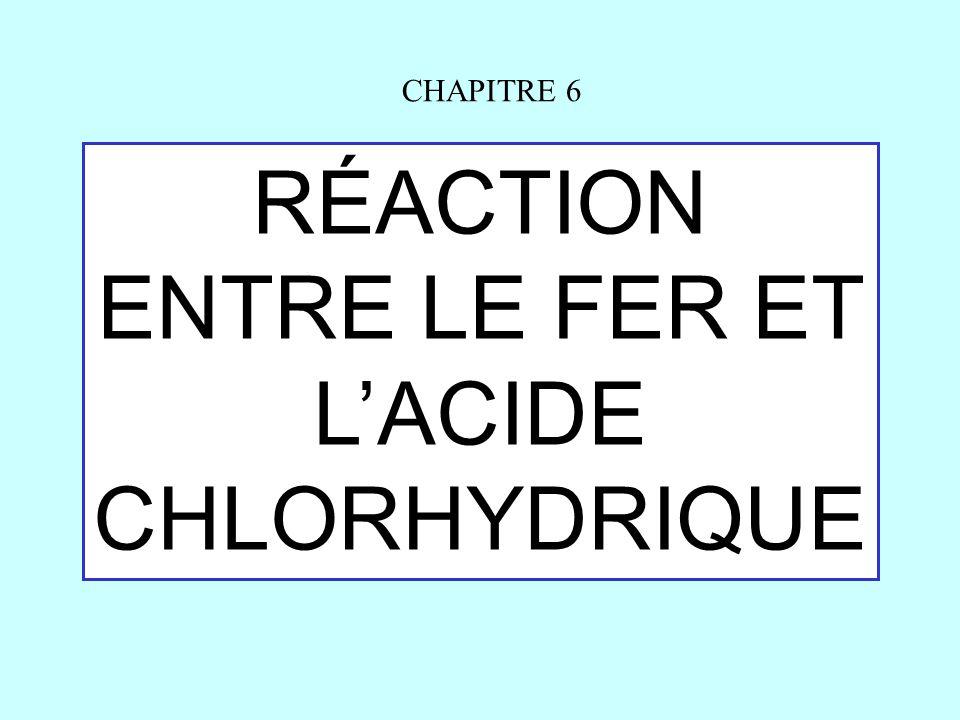 RÉACTION ENTRE LE FER ET L'ACIDE CHLORHYDRIQUE CHAPITRE 6