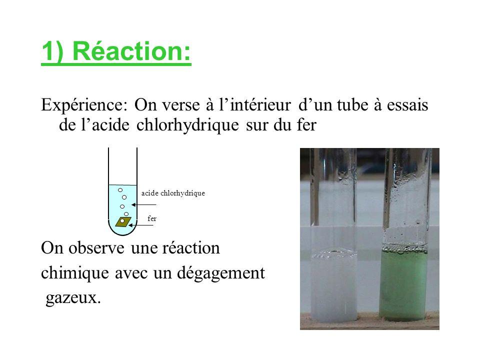 1) Réaction: Expérience: On verse à l'intérieur d'un tube à essais de l'acide chlorhydrique sur du fer On observe une réaction chimique avec un dégagement gazeux.