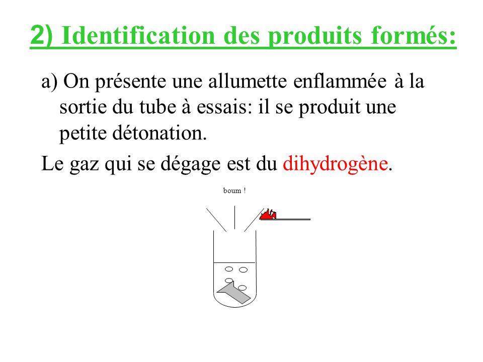 a) On présente une allumette enflammée à la sortie du tube à essais: il se produit une petite détonation.