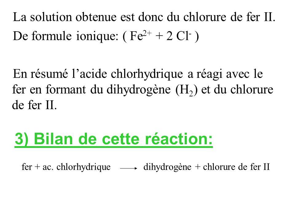 La solution obtenue est donc du chlorure de fer II.