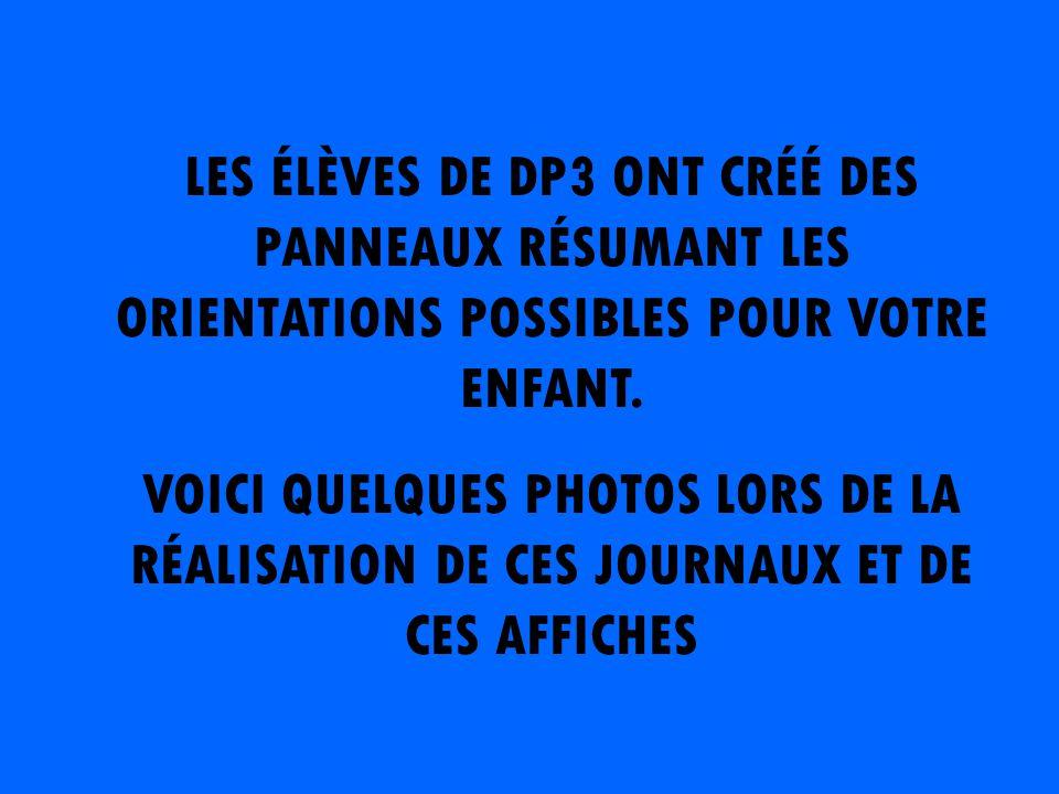 LES ÉLÈVES DE DP3 ONT CRÉÉ DES PANNEAUX RÉSUMANT LES ORIENTATIONS POSSIBLES POUR VOTRE ENFANT.