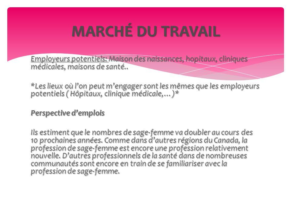 Employeurs potentiels: Maison des naissances, hopitaux, cliniques médicales, maisons de santé..