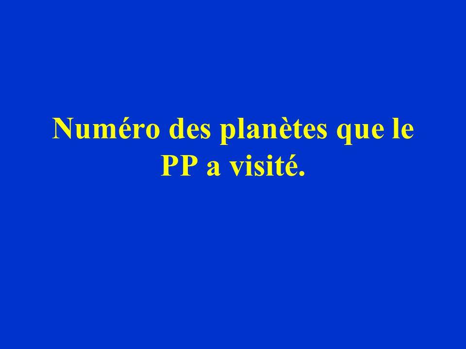 Numéro des planètes que le PP a visité.