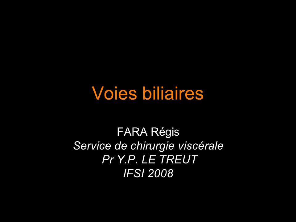 Voies biliaires FARA Régis Service de chirurgie viscérale Pr Y.P. LE TREUT IFSI 2008