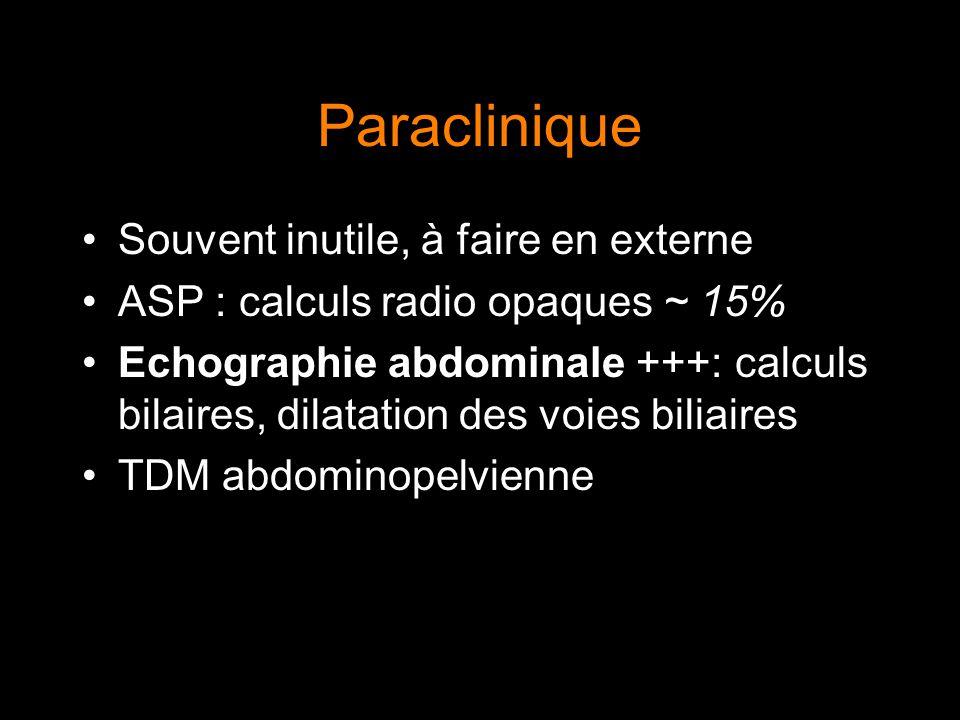 Paraclinique Souvent inutile, à faire en externe ASP : calculs radio opaques ~ 15% Echographie abdominale +++: calculs bilaires, dilatation des voies