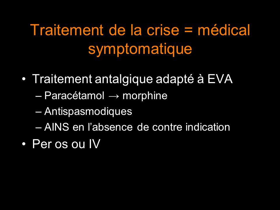Traitement de la crise = médical symptomatique Traitement antalgique adapté à EVA –Paracétamol → morphine –Antispasmodiques –AINS en l'absence de cont