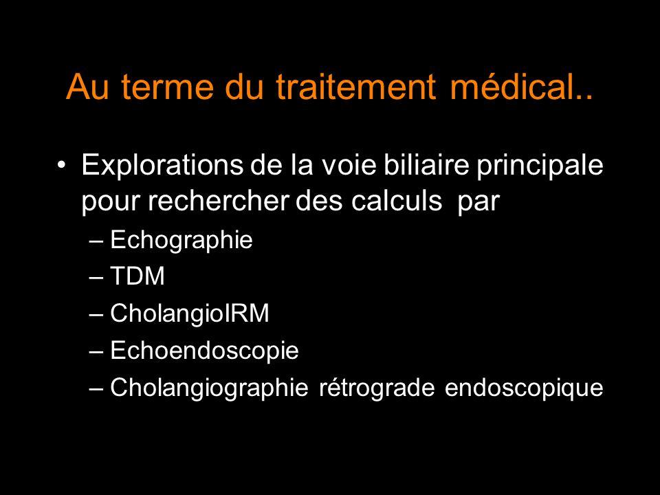 Au terme du traitement médical.. Explorations de la voie biliaire principale pour rechercher des calculs par –Echographie –TDM –CholangioIRM –Echoendo