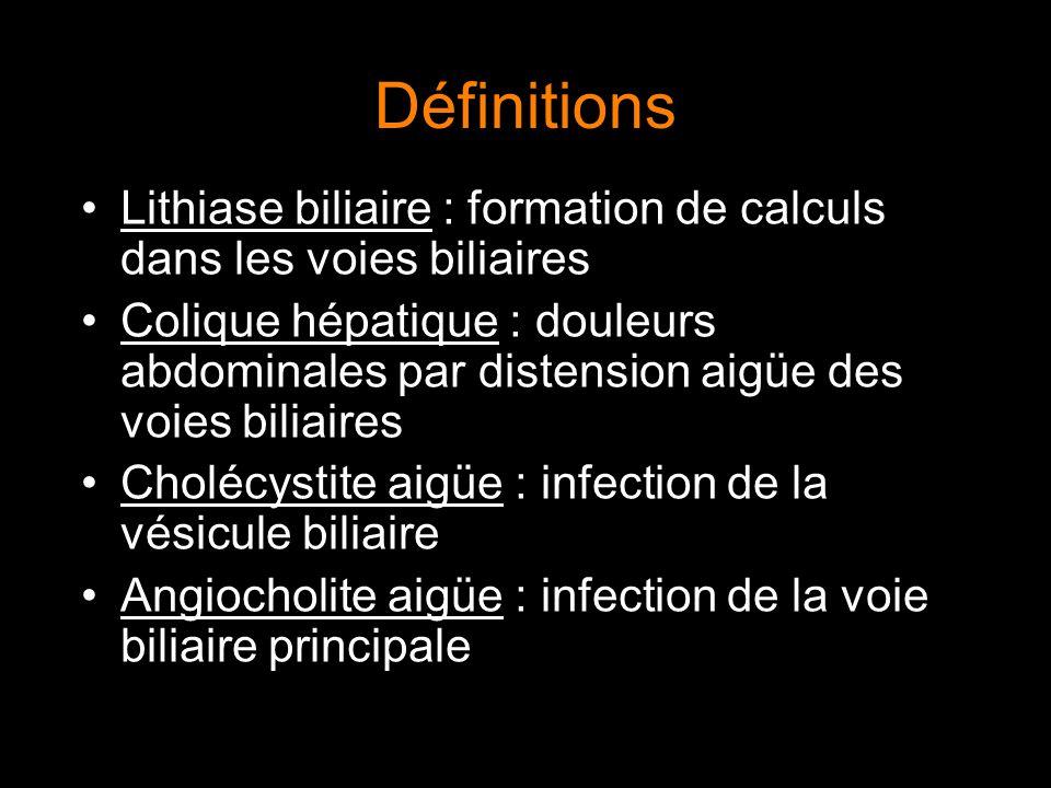 Définitions Lithiase biliaire : formation de calculs dans les voies biliaires Colique hépatique : douleurs abdominales par distension aigüe des voies