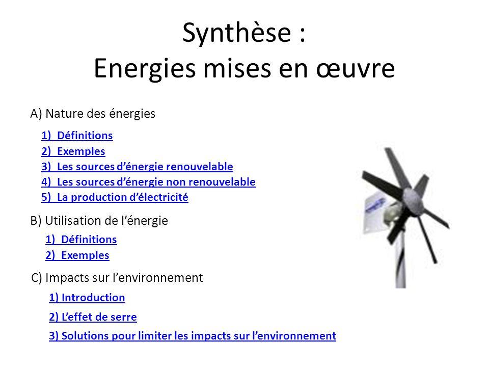 Synthèse : Energies mises en œuvre A) Nature des énergies 1) Définitions 2) Exemples 3) Les sources d'énergie renouvelable 4) Les sources d'énergie no
