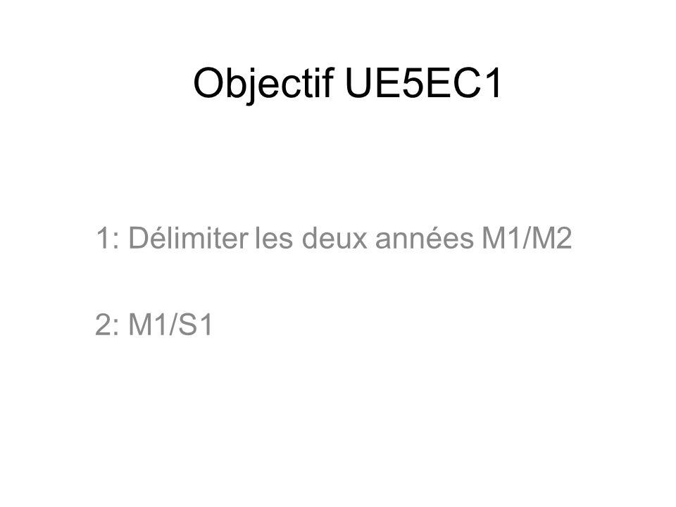Objectif UE5EC1 1: Délimiter les deux années M1/M2 2: M1/S1