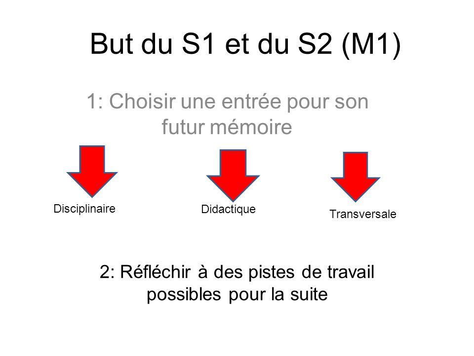 But du S1 et du S2 (M1) 1: Choisir une entrée pour son futur mémoire Disciplinaire Didactique Transversale 2: Réfléchir à des pistes de travail possibles pour la suite