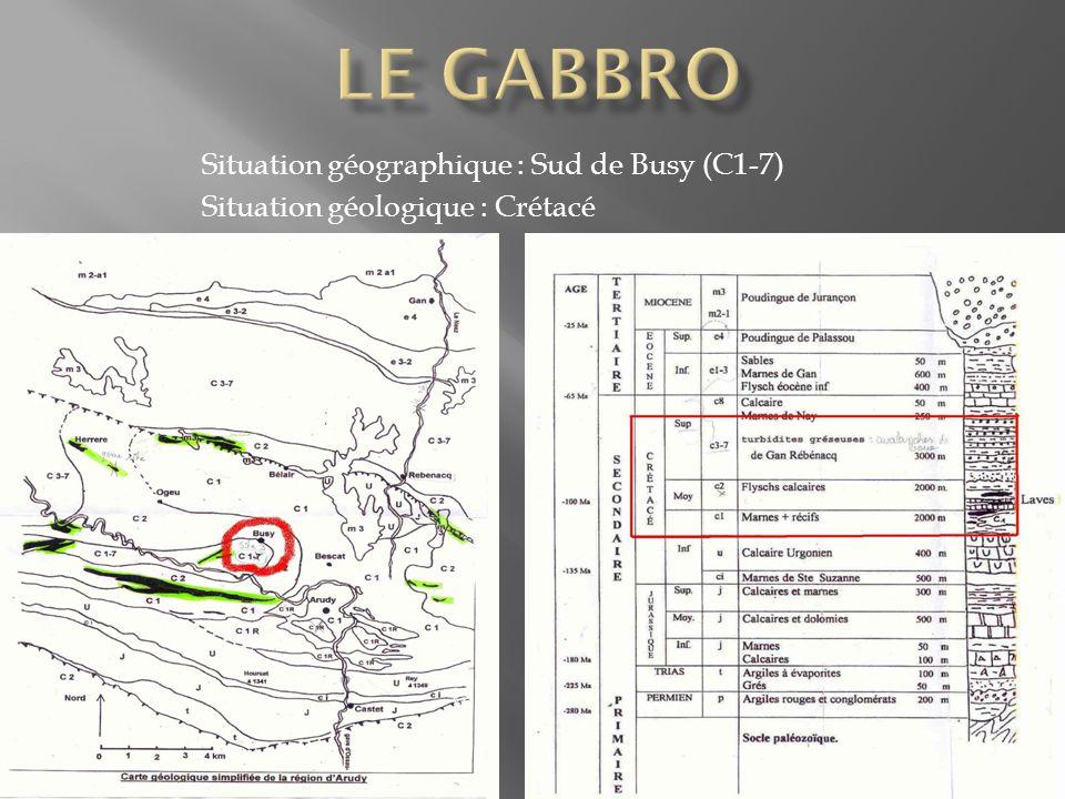 Situation géographique : Sud de Busy (C1-7) Situation géologique : Crétacé
