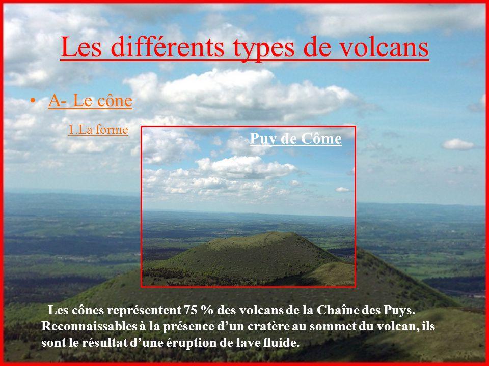 Les différents types de volcans A- Le cône 1.La forme Les cônes représentent 75 % des volcans de la Chaîne des Puys. Reconnaissables à la présence d'u