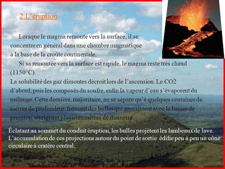 2.L'éruption Lorsque le magma remonte vers la surface, il se concentre en général dans une chambre magmatique à la base de la croûte continentale. Si