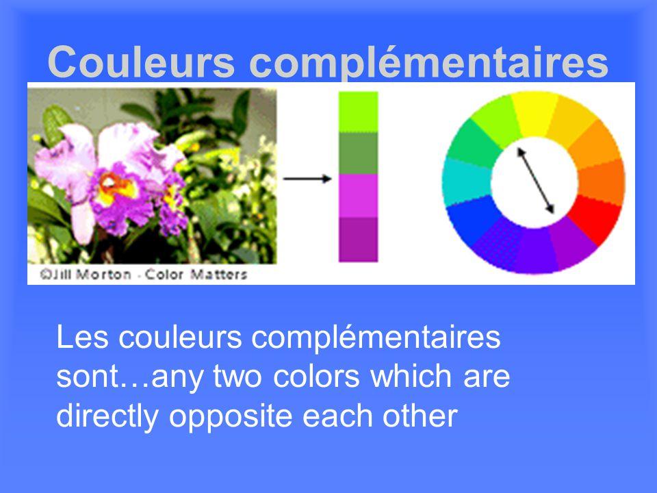 Les couleurs analogues sont créées en mélangeant des couleurs opposées sur le cercle chromatique.