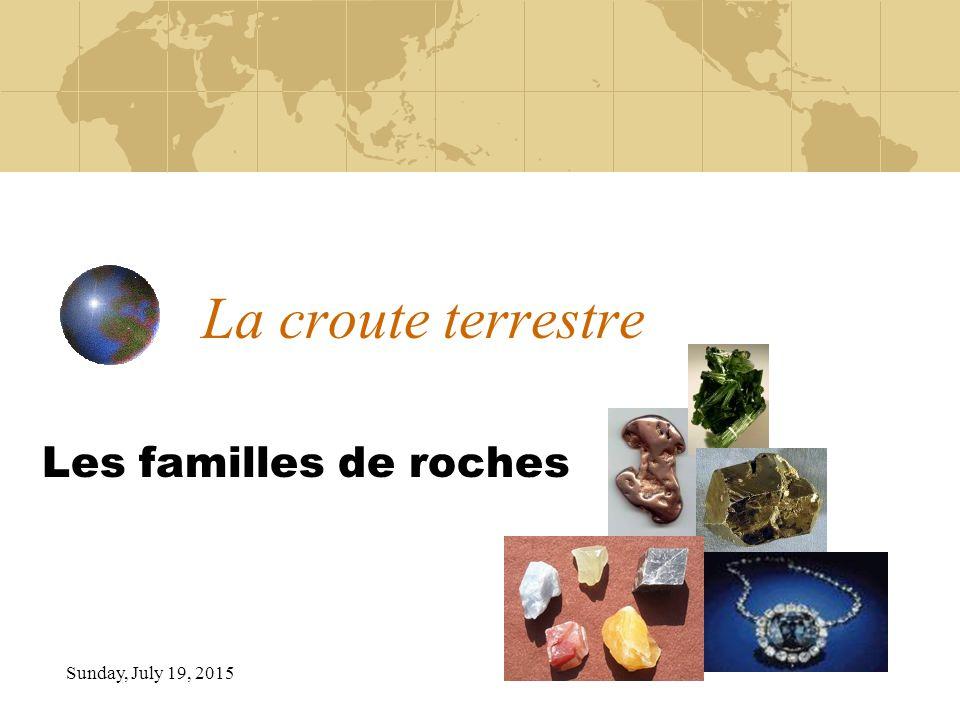 Sunday, July 19, 2015 La croute terrestre Les familles de roches