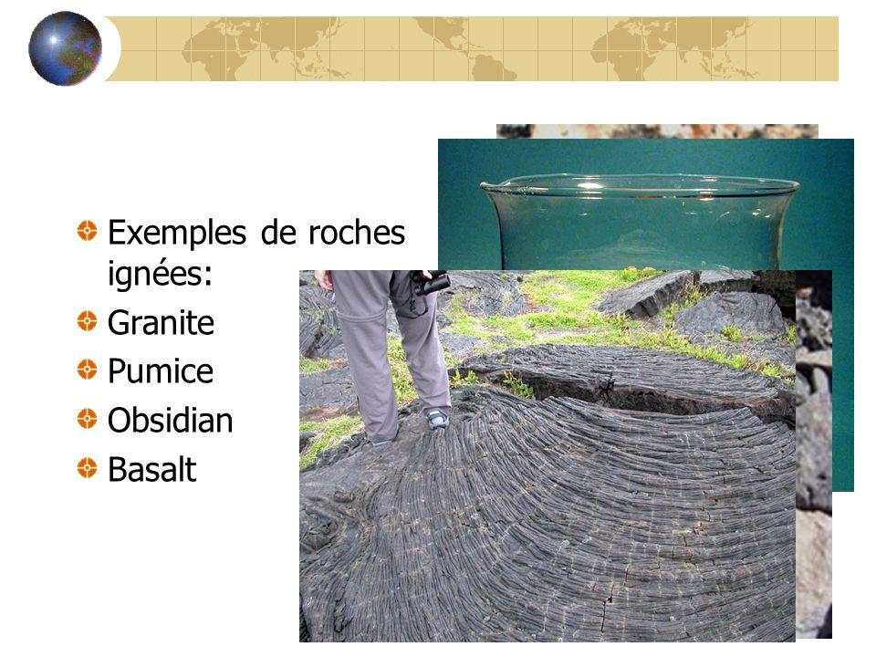 Exemples de roches ignées: Granite Pumice Obsidian Basalt