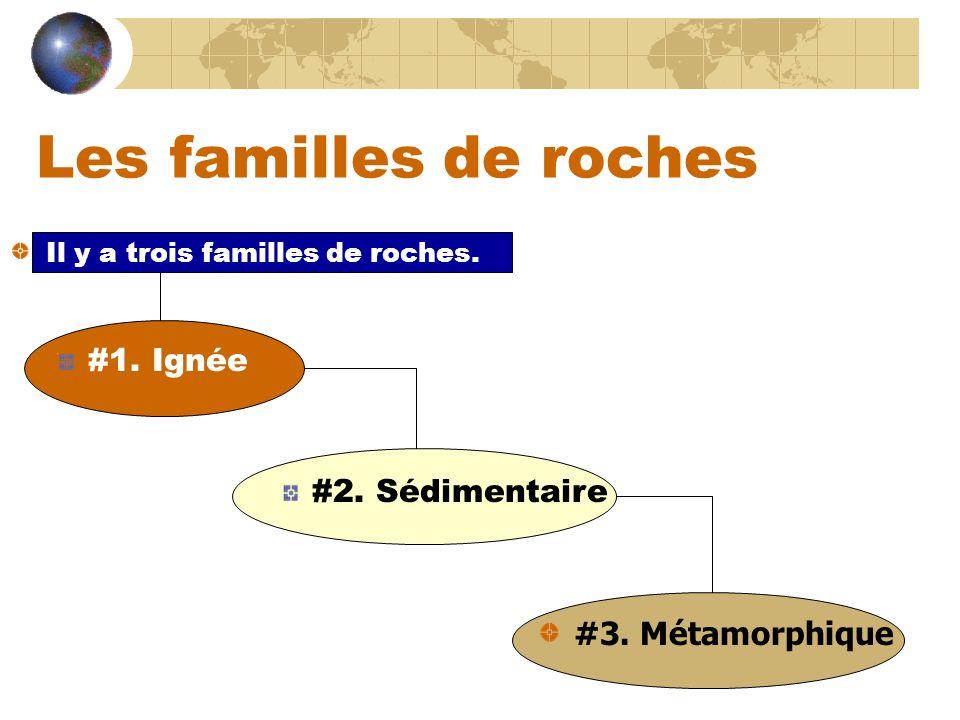 Les familles de roches #1. Ignée Il y a trois familles de roches. #2. Sédimentaire #3. Métamorphique