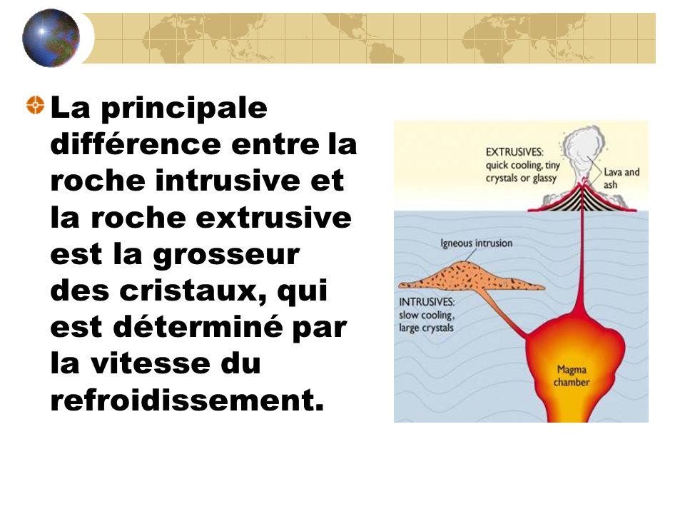 Roche intrusive (magma refroidit): se refroidit très lentement à l'intérieur de la croute terrestre et forme des gros cristaux..