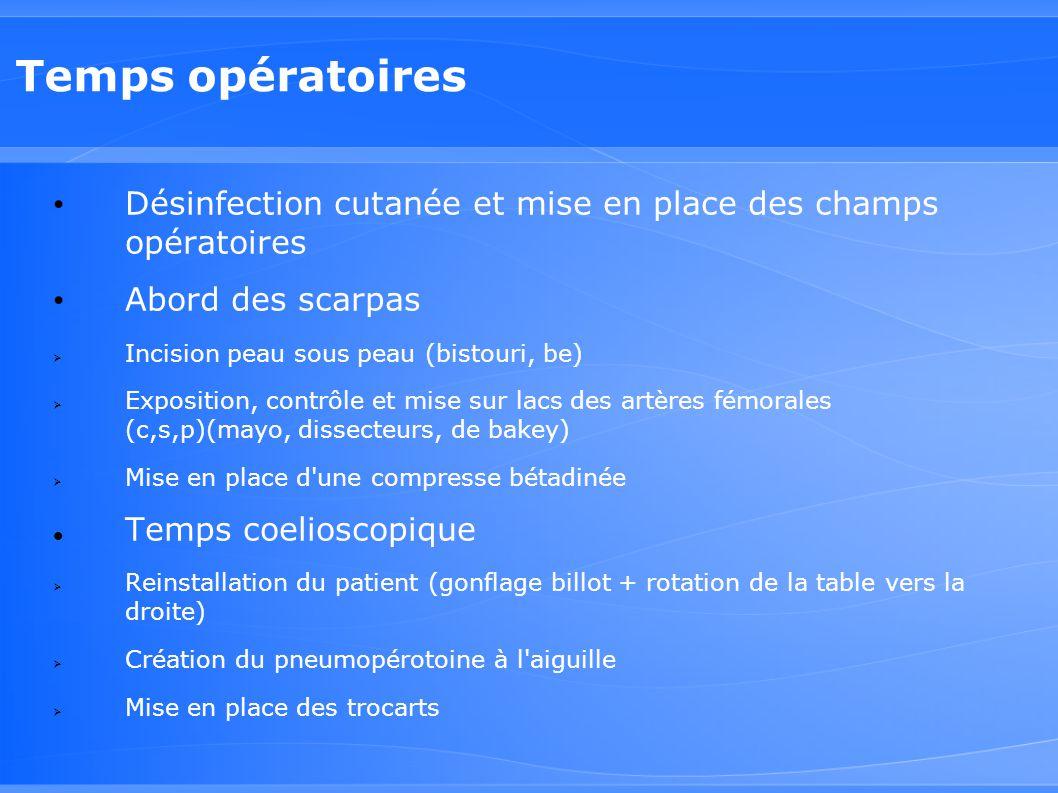 Temps opératoires Désinfection cutanée et mise en place des champs opératoires Abord des scarpas  Incision peau sous peau (bistouri, be)  Exposition