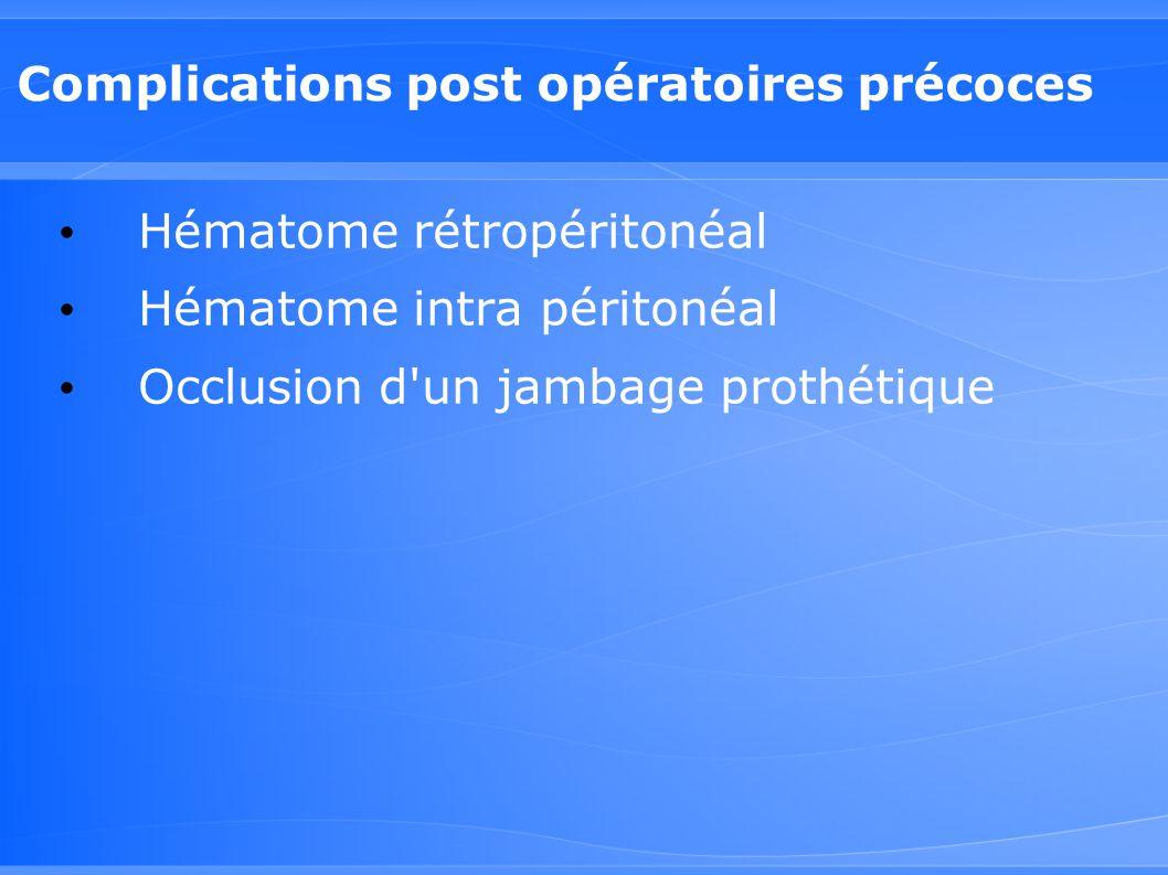 Complications post opératoires précoces Hématome rétropéritonéal Hématome intra péritonéal Occlusion d'un jambage prothétique