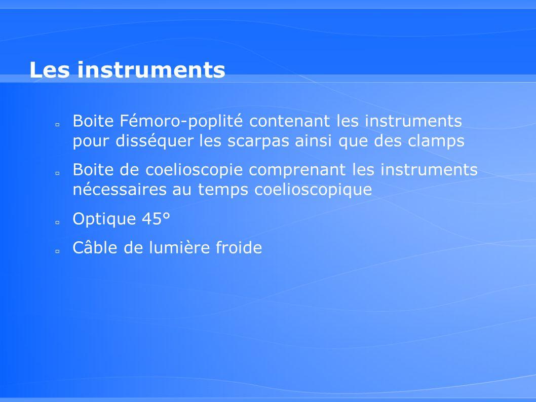 Les instruments □ Boite Fémoro-poplité contenant les instruments pour disséquer les scarpas ainsi que des clamps □ Boite de coelioscopie comprenant le