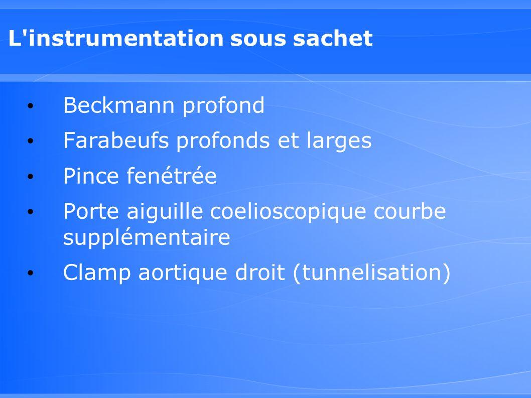 L'instrumentation sous sachet Beckmann profond Farabeufs profonds et larges Pince fenétrée Porte aiguille coelioscopique courbe supplémentaire Clamp a