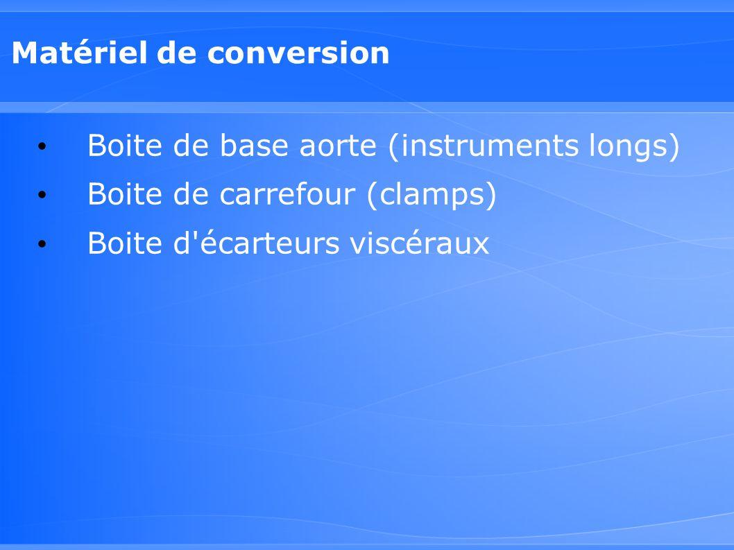 Matériel de conversion Boite de base aorte (instruments longs) Boite de carrefour (clamps) Boite d'écarteurs viscéraux