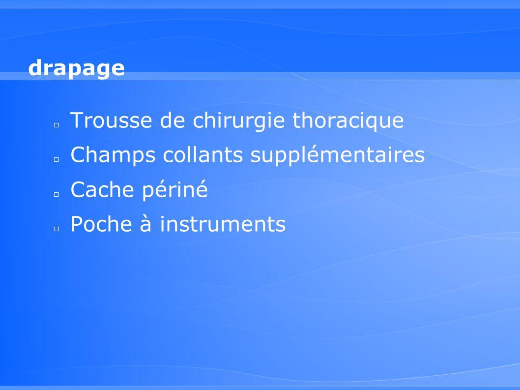 drapage □ Trousse de chirurgie thoracique □ Champs collants supplémentaires □ Cache périné □ Poche à instruments