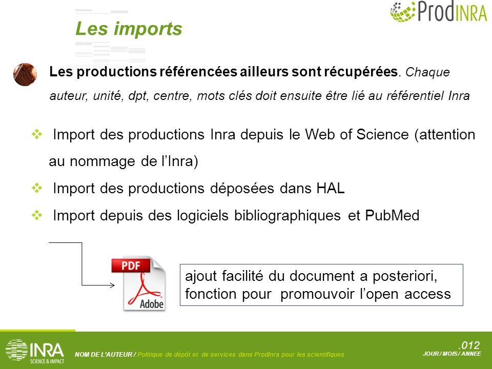 .012 NOM DE L'AUTEUR / Politique de dépôt et de services dans ProdInra pour les scientifiques JOUR / MOIS / ANNEE Les productions référencées ailleurs sont récupérées.