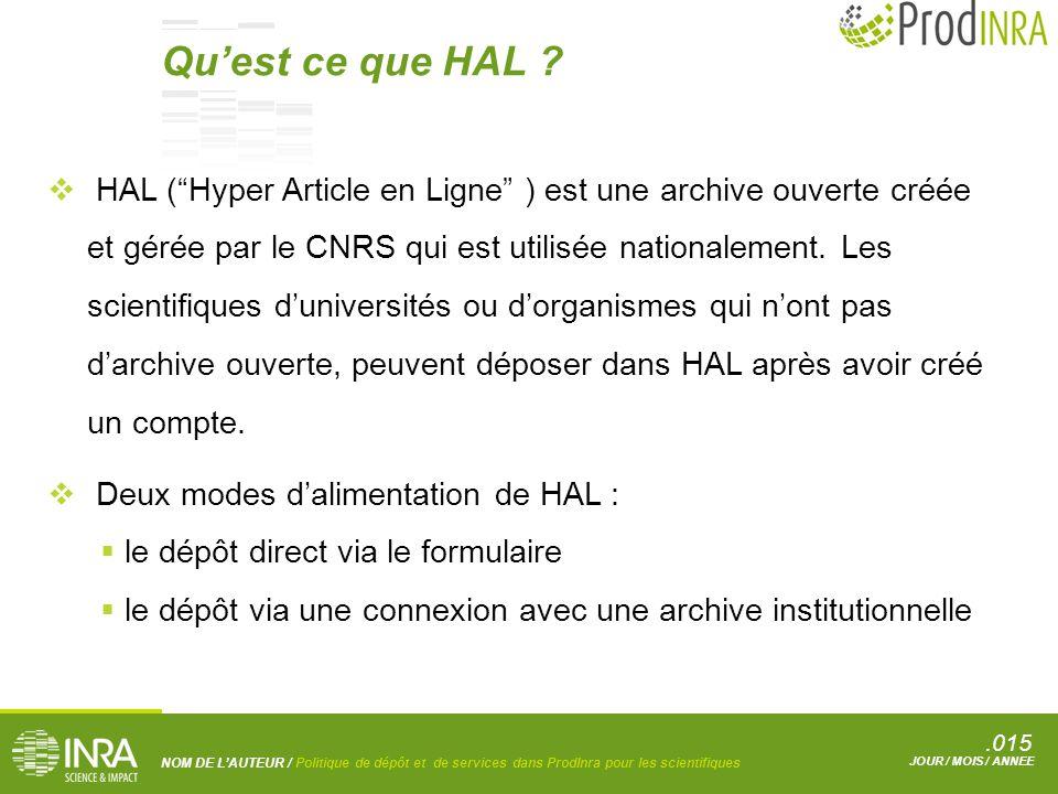 .015 NOM DE L'AUTEUR / Politique de dépôt et de services dans ProdInra pour les scientifiques JOUR / MOIS / ANNEE  HAL ( Hyper Article en Ligne ) est une archive ouverte créée et gérée par le CNRS qui est utilisée nationalement.