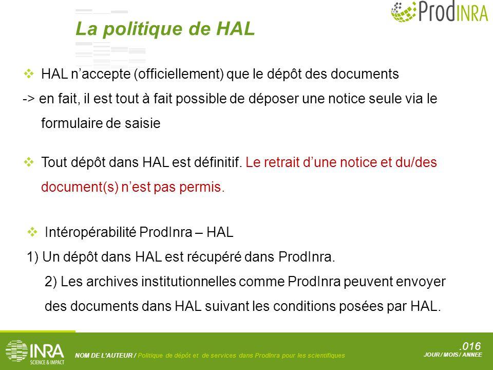 .016 NOM DE L'AUTEUR / Politique de dépôt et de services dans ProdInra pour les scientifiques JOUR / MOIS / ANNEE  Intéropérabilité ProdInra – HAL 1) Un dépôt dans HAL est récupéré dans ProdInra.