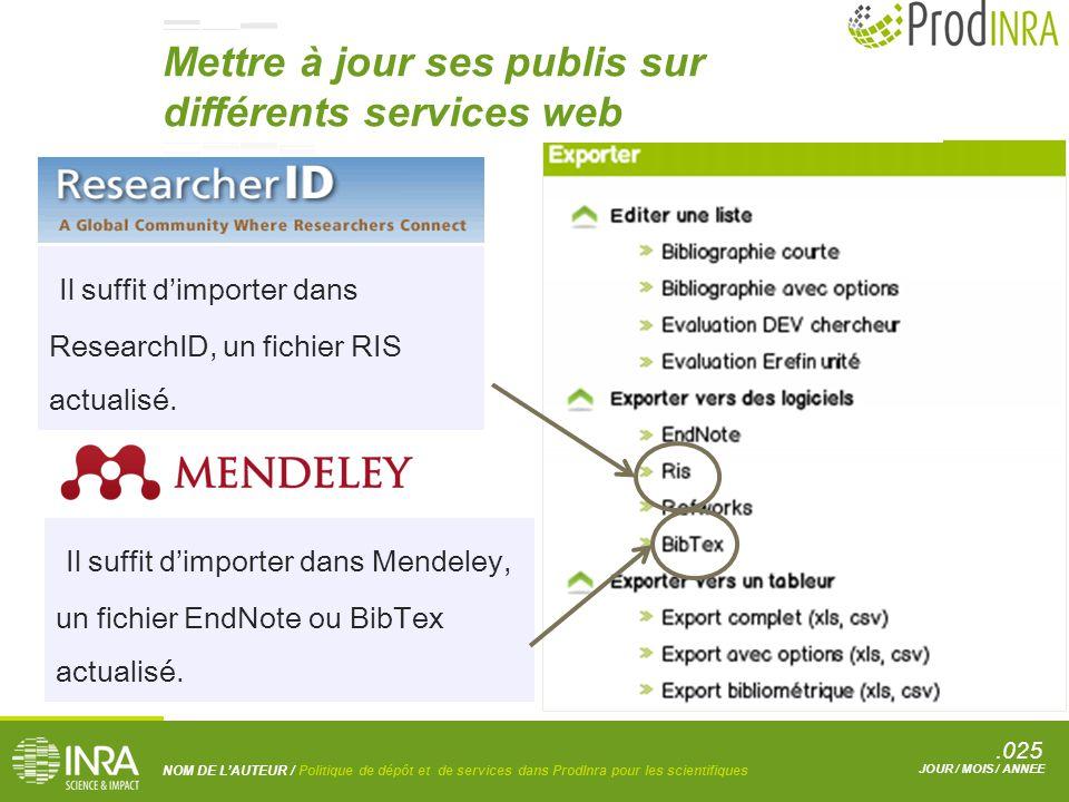 .025 NOM DE L'AUTEUR / Politique de dépôt et de services dans ProdInra pour les scientifiques JOUR / MOIS / ANNEE Il suffit d'importer dans ResearchID, un fichier RIS actualisé.
