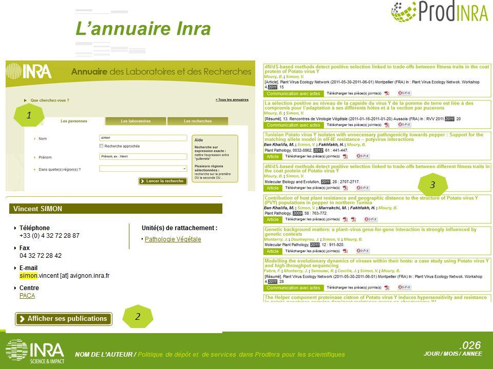 .026 NOM DE L'AUTEUR / Politique de dépôt et de services dans ProdInra pour les scientifiques JOUR / MOIS / ANNEE 1 2 3 L'annuaire Inra
