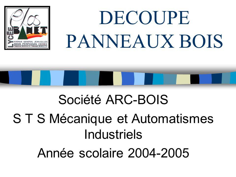 DECOUPE PANNEAUX BOIS Société ARC-BOIS S T S Mécanique et Automatismes Industriels Année scolaire 2004-2005