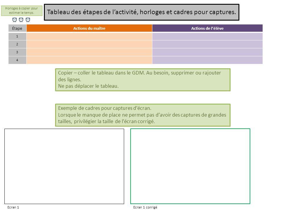 ÉtapeActions du maîtreActions de l'élève 1 2 3 4 Tableau des étapes de l'activité, horloges et cadres pour captures.